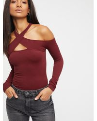 Free People - Red Seamless Wrap Neck Top - Lyst
