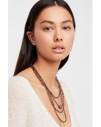 Free People - Metallic Delicate Tiered Stone Necklace - Lyst