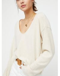 Free People - Natural Now Or Never Cashmere V-neck Jumper - Lyst