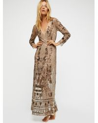 Free People | Multicolor Art Deco Embellished Maxi Slip | Lyst
