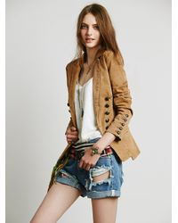 Free People | Brown Structured Washed Blazer | Lyst