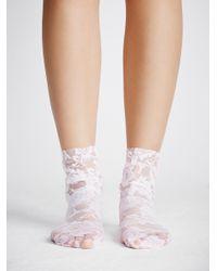 Free People - White Smitten Lace Sock - Lyst