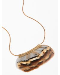 Free People - Natural Serefina Feather Fan Necklace - Lyst