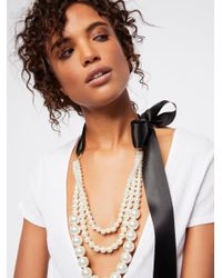Free People - Black Accessories Jewelry Necklaces Layered Pearl X Bow Necklace - Lyst