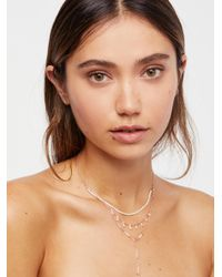 Free People - Brown Paradise Beaded Triple Necklace - Lyst