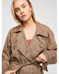 Free People - Brown Cecilia Trench Coat - Lyst