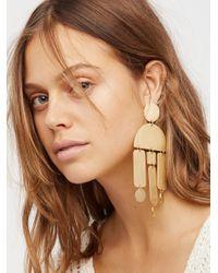 Free People | Brown Windchimes Brass Earring | Lyst