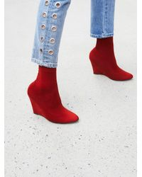 Free People | Red Vegan Luxe Sock Boot | Lyst