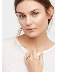 Free People - Brown Raw Stone Stack Ring - Lyst