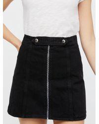 Free People - Black Lily Denim Skirt - Lyst