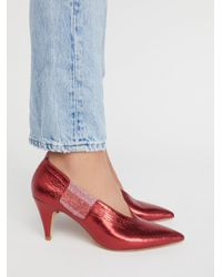 Free People - Red Leather Florence Heel - Lyst