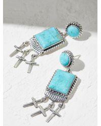 Free People - Multicolor Kingman Turquoise Cross Earrings - Lyst