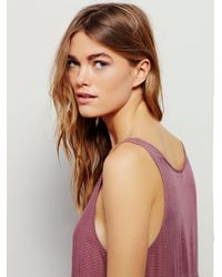 Free People - Purple Voile And Lace Trapeze Slip - Lyst