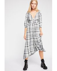 Free People - Gray Laura Plaid Midi Dress By Cp Shades - Lyst