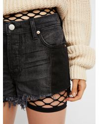 Free People - Black Fishnet Bike Short - Lyst