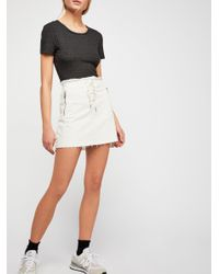 Free People - Gray Baby Rib Tee - Lyst