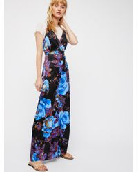 Free People - Blue Cabbage Rose Romper - Lyst