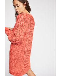 8064813a12f Free People On A Boat Sweater Dress in Red - Lyst
