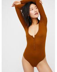 Free People - Brown Simply Henley Bodysuit - Lyst