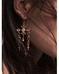 Free People - Metallic Charmed Cross Earrings - Lyst