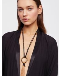 Free People - Black Alloy Ring Leather Bolo - Lyst
