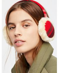 Free People - Red Plaid Influence Earmuffs - Lyst