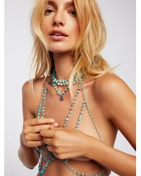 Free People - Brown Raw Turquoise Stone Halter - Lyst