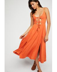 Free People - Orange Solace Midi Dress By Endless Summer - Lyst