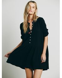 Free People - Black Button Up Dress - Lyst