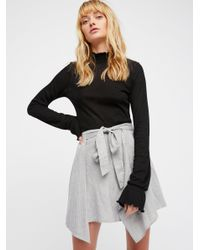 Free People - Gray Blue Skies Striped Mini Skirt - Lyst