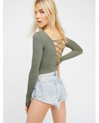 Free People | Green All Laced-up Long Sleeve Layering Top | Lyst