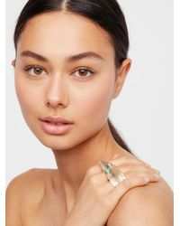 Free People - Brown Brass Crosshand Feather Ring - Lyst