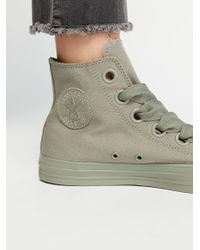Free People - Green Eyelets Hi Top Trainer - Lyst