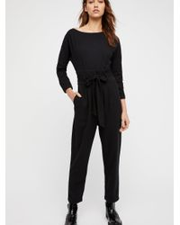 df9c5cfc125 Free People Biffy Belted One-piece Jumpsuit in Black - Lyst