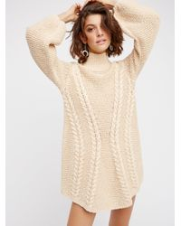 Free People | Natural Back To Back Sweater Mini | Lyst