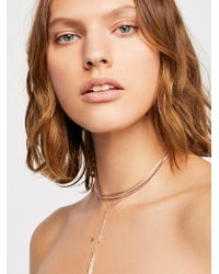 Free People - Metallic Goldspun Bolo Necklace - Lyst
