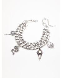 Free People - Metallic Biker Chain Charm Hi-collar - Lyst