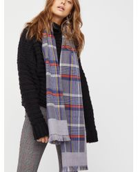 Free People Gray Outsider Plaid Scarf