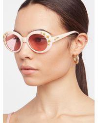 Free People - Pink Outta Sight Star Print Sunglasses - Lyst