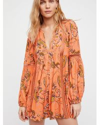 Free People - Orange Just The Two Of Us Paisley Printed Tunic - Lyst