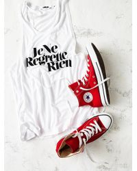 Free People | Red Charlie Hi Top Converse | Lyst