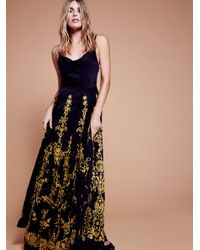 Free People | Black Cowl Embroidered Maxi Dress | Lyst
