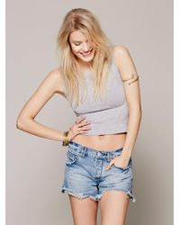 Free People | Gray Cropped Muscle Tank | Lyst