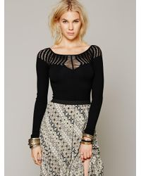 Free People | Black Cut Out Neck Long Sleeve Top | Lyst