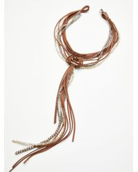 Free People - Brown Leather X Raw Stone Bolo Necklace - Lyst