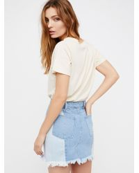 Free People - Blue Morning Daze Mini Skirt - Lyst