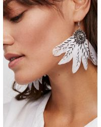 Free People - Multicolor Painted Feather Fan Earrings - Lyst