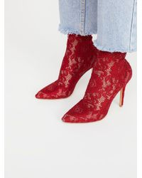 Free People - Red Best In Lace Heel - Lyst