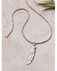 Free People - Metallic Destiny Feather Necklace - Lyst