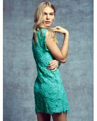 Free People - Green Destroyed Lace Shift - Lyst